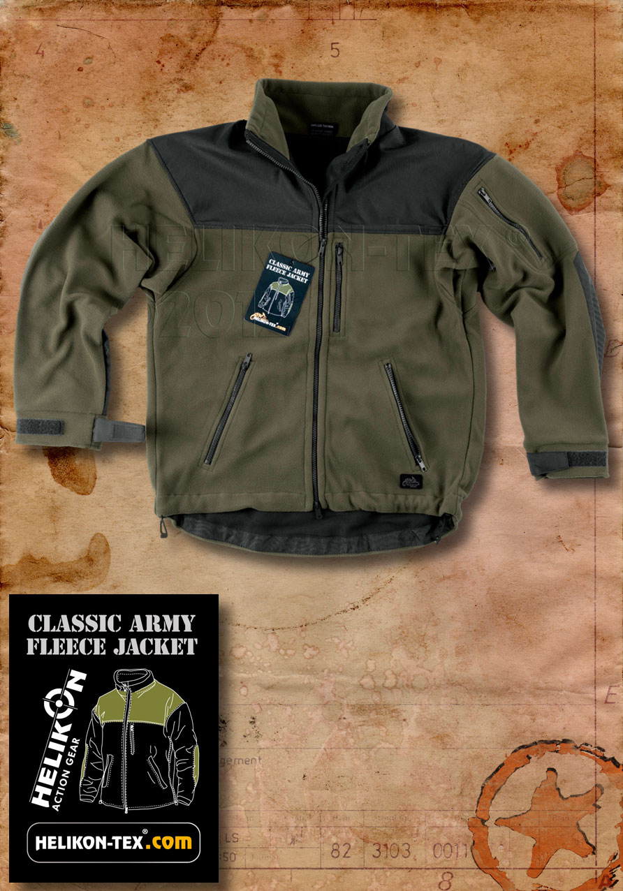HELIKON CLASSIC ARMY FLEECE MENS TACTICAL MILITARY JACKET OLIVE