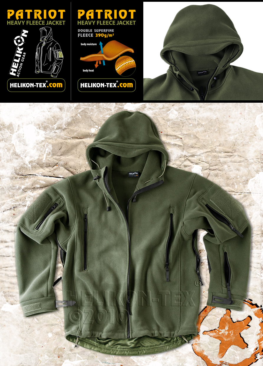 HELIKON PATRIOT, MENS MILITARY TACTICAL HOODED FLEECE JACKET ...