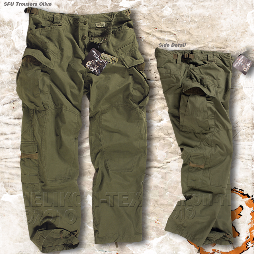 HELIKON SPECIAL FORCES (SFU) TACTICAL TROUSERS, ARMY COMBAT CARGO ...
