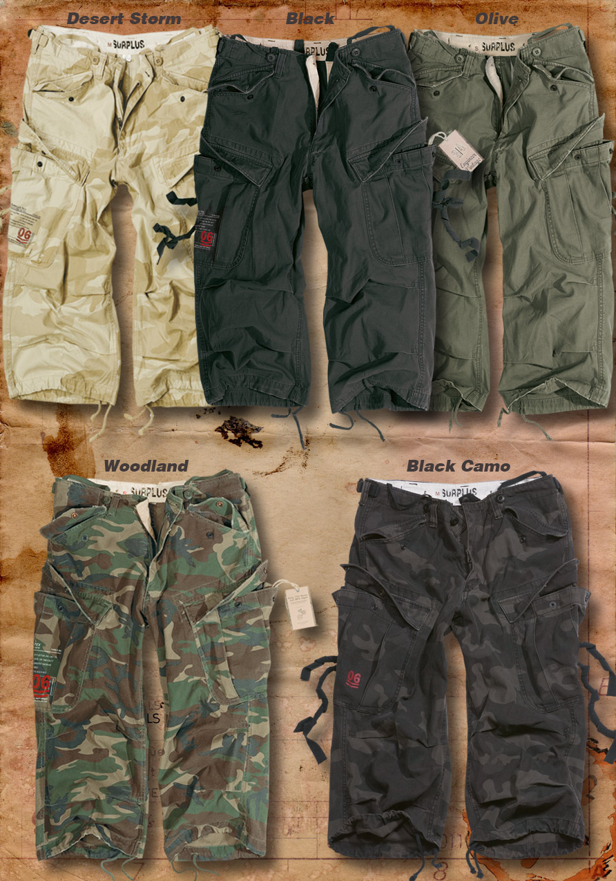 SURPLUS ENGINEER VINTAGE 3/4 LENGTH COMBAT CARGO SHORTS S - XXL ...